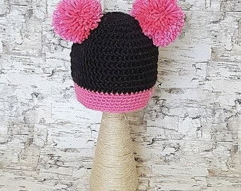 Baby's Crochet Hat. Black with Bright Pink Pom-Poms.  Free Shipping