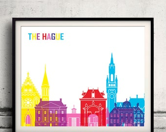 The Hague pop art skyline 8x10 in. to 12x16 in. Fine Art Print Glicee Poster Gift Illustration Pop Art Colorful Landmarks - SKU 1091