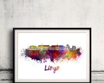 Liege skyline in watercolor over white background with name of city - Poster Wall art Illustration Print - SKU 1575