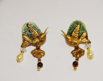 "Vintage Brass / Cooper 1.5"" Enameled Bird Earrings."