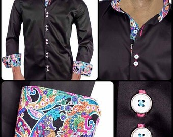 Black with Multi-Colored Paisley Men's Designer Dress Shirt - Made To Order in USA