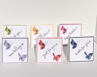 whimsical butterfly set of six note cards