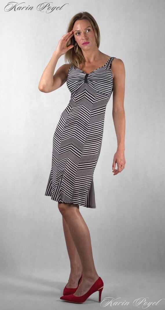 1st Romantic Summer Striped Design / Stripe Dress / Black and White Stripes / Unique Designed / KARIN # 12-047-01-00-14