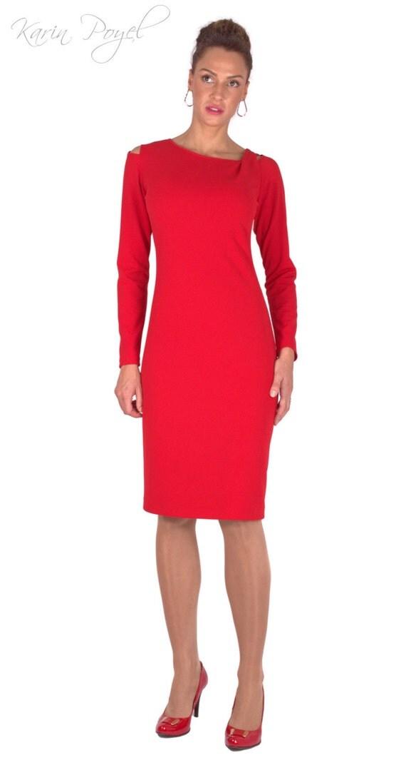 Cocktail Red Dress / Sheath Dress / Stretch Dress / Long Sleeve Dress / KARIN # 12-020-01-02-00