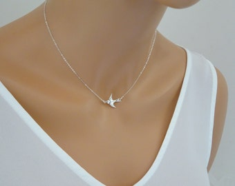 Silver Dove Necklace, Flying bird necklace, Dove Necklace, Swallow Necklace, Dainty Small Necklace, Bird lover Jewelry, Sparrow Necklace