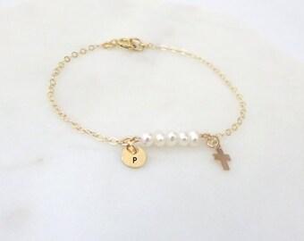 Cross bracelet, personalized bracelet, tiny initial bracelet, cross charm baby boy, girl bracelet, Baptism gift, christening gift