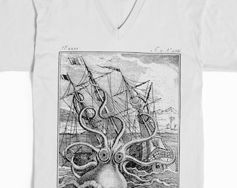 Kraken Shirt - Octopus Shirt - Men's T-shirt -Women's T-shirt- Pirate graphic tee - vneck