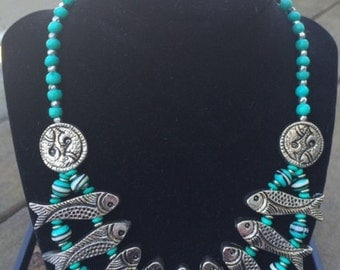 Turquoise and Silver Finish Fish Necklace with Earrings