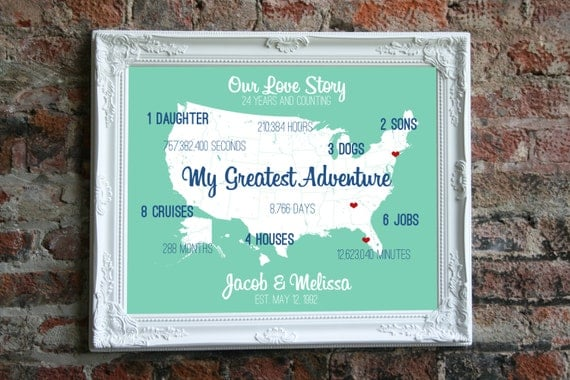 Wedding Anniversary Gifts 24th Year : 24th Wedding Anniversary Gift For Him 24 Year Anniversary Custom Art ...