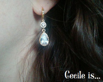 Crystal and gold bridal earrings - Wedding earrings - Bridesmaids earrings gift - Cubic crystal drop earrings