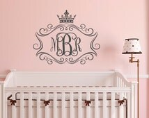 Personalized Girls Monogram Wall Decal- Monogram Girls Wall Decor- Wall Decal Monogram Letters Little Princess Baby Bedroom Wall Art  M074