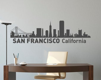 San Francisco City Skyline Silhouette Wall Decal- City Scape Wall Decal San Francisco California Interior Design Office Wall Art Decor C001