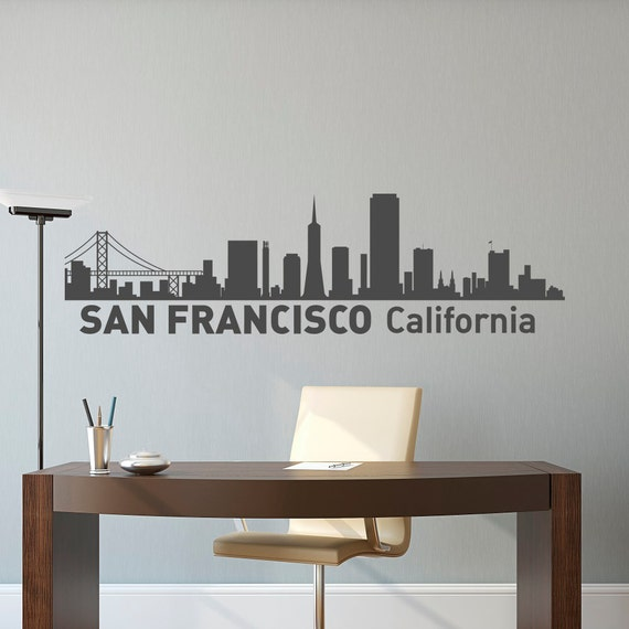 San Francisco City Skyline Silhouette Wall Decal City Scape - Wall decals city
