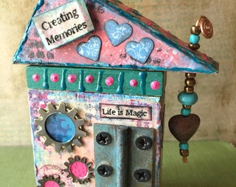 Mixed Media House - House Assemblage - Wooden Bloack House - Mixed Media Assemblage - Altered Art - House Warming Gift -  Wooden House