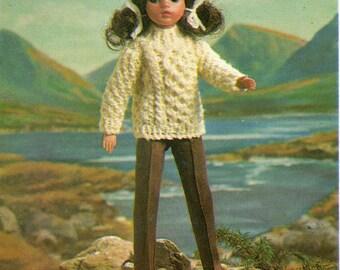 Sindy Dolls Clothes Knitting Pattern - Aran Sweater