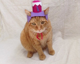 Blue or Pink Birthday Cake Hat for Cats