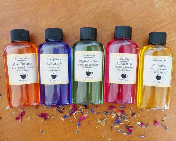 Mini Harry Potter Bubble Bath 2 oz - Party Favors, Guest Soap - Elixir of Life, Amortentia, Butterbeer, Pumpkin Juice, Polyjuice Potion