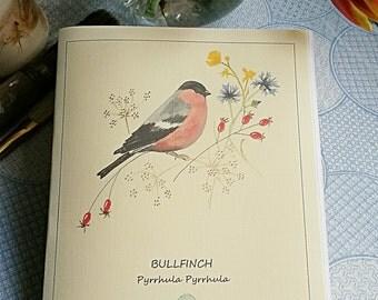 Bullfinch and wild flowers A5 notebook. hand painted then printed on linen-look paper. hand made. British Garden Bird