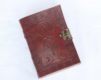 Handmade Triple Goddess Tooled Leather Blank Journal, Diary, Sketch or Notebook Book