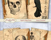 75% OFF SALE Halloween - Digital Collage Sheet Digital Cards C188 Printable Download Image Tags Digital Image Atc Halloween Cards ACEO