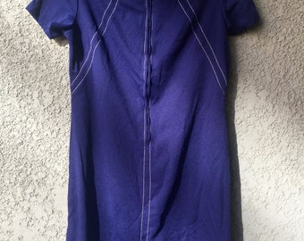 Blue zip front dress