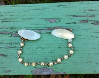 Vintage Sweater Clip w/Pearl Chain & MOP Clips