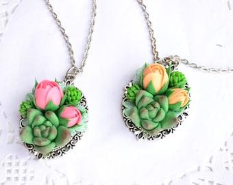 Succulent necklace set. Succulent roses jewelry. Planter necklace jewelry set. Rustic necklace jewelry