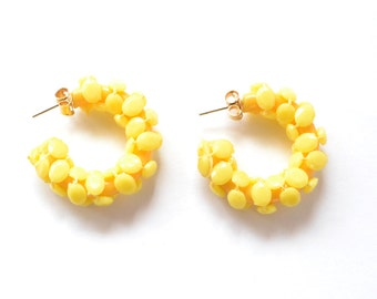 Vintage Mod Hoop Earrings, Sunny Yellow, Pierced Back