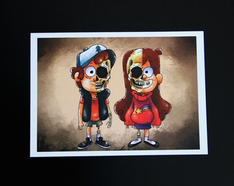 Gravity Falls Dipper Mabel Skull Print Poster Yorogato