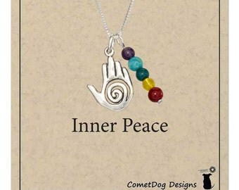 Sterling Silver Healing Hand Pendant Necklace with 5 Chakra Beads