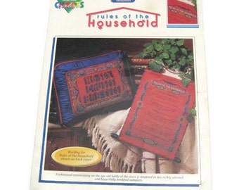 Rules of the Household Cross Stitch Chart  Kitsch Cross Stitch Female Makes The Rules Kitschy Rules Of The House