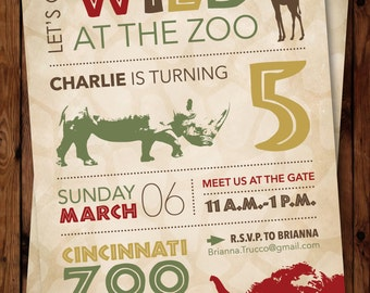 Zoo Birthday Invitation, Safari Birthday Invitation, Jungle Birthday Invitation