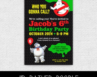 Ghostbusters Invitation - Printable Ghostbusters Birthday Party Invitation - Ghostbusters Party Invite - Halloween Party Invitation