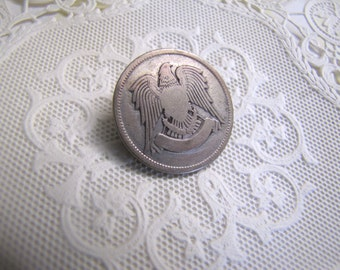 Silver Eagle Coin Brooch, Vintage Eagle Coin, Middle Eastern Coin, Egyptian Silver Coin Brooch, Foreign Coin, Collectible Coin, Steampunk