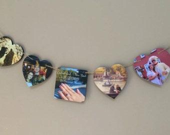 Square & Heart Photo Bunting / Photo Bunting / Photo Gift / Wedding Gift / Engagement Gift / Birthday Gift / Home Decor / Photo Frame