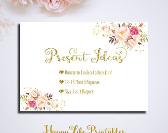 Printable Present Ideas Card Birthday Digital Files Floral Pink And Gold Bridal