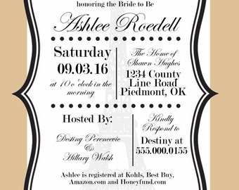"French Inspired Bridal Shower Invitation: ""Pour la mariée"""