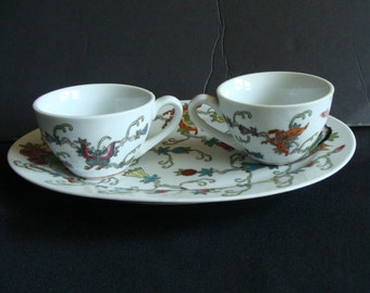 Chinese plates, tea cups & rice bowls, Chinese oval plates floral pattern, Chinese floral tea cups,