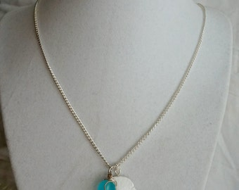 Sand dollar and ocean blue gem nautical necklace