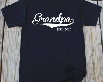 Grandpa shirt Grandfather gift Grandpa EST. 2016 T-Shirt Gift For Grandpa New Grandpa Est 2016 Customized Tshirt Father's day grandpa shirt