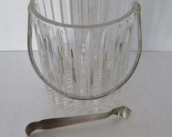 Cut Crystal Ice Bucket w/ Tongs