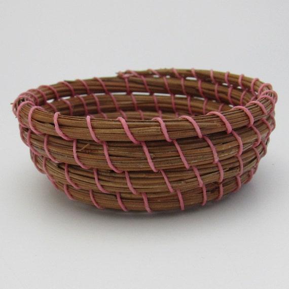 Handmade Pine Needle Baskets : Pine needle basket handwoven long leaf needles