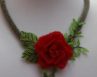 Necklace rose Jewelry flower Bead necklace Red Rose Necklace flower Beadwork necklace Jewelry necklace gift Pendant roses Romantic necklace