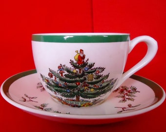 7 CHRISTMAS TREE Cups and 8 Saucers by Spode Made in England Vintage Holiday China