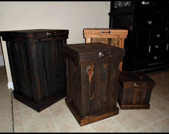 Rustic Trash Can, 30 Gallon Trash Can, 13 Gallon Trash Can, Rustic Kitchen Decor, Garbage Can, Storage, Laundry Basket, Wood Trash Bin, Home