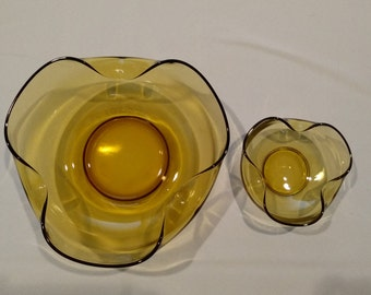 Vintage Anchor Hocking circa 1960's Accent Modern Chip and Dip Bowls