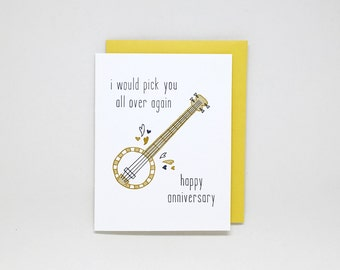Anniversary Card // anniversary card for husband, anniversary card for him, anniversary card for boyfriend, banjo, guitar, music