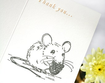 Letterpress Thank you Card - with a cute mouse