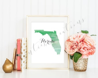 Florida State Green Ombre Watercolor Printable Art. Florida State Love Printable. Florida Silhouette Outline Watercolor State.