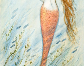 "Mermaid greeting card, 5"" x 7""  from painting by Tina Obrien, Mermaid and her catfish Goldie, beach art, coastal,"